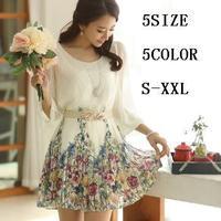 2014 High quality   lacing princess dress women's spring and summer three quarter sleeve print chiffon dress 8003