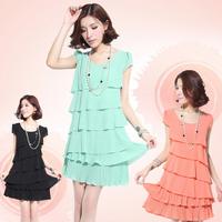 fresh summer plus size women basic layered dress summer ruffle chiffon one-piece dress