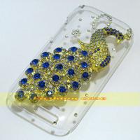 1 Pcs Handmade Bling Diamond Peacock Clear Hard Back Case For HTC Desire SV T326e
