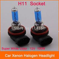 2pcs - H11 Socket 12V Car Headlight Bulb New Car Light Halogen lamp White Xenon Auto HID 100W