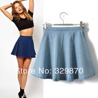 Skirt 2014 High Waist Ruffles Elegant European Style Women Jeans Skirt, Womens Skirts, Free Shipping Skirt.