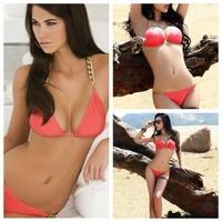 2014 New Sexy Swimsuit Womens Golden Chain Swimwear Halter Padded Bra Pink Bikini for Lady Plus Size Free Shipping bkn07
