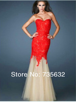 Cheap Fashion Faster shipping Prom Dresses Sweetheart Floor length long  Lace Evening gowns A098