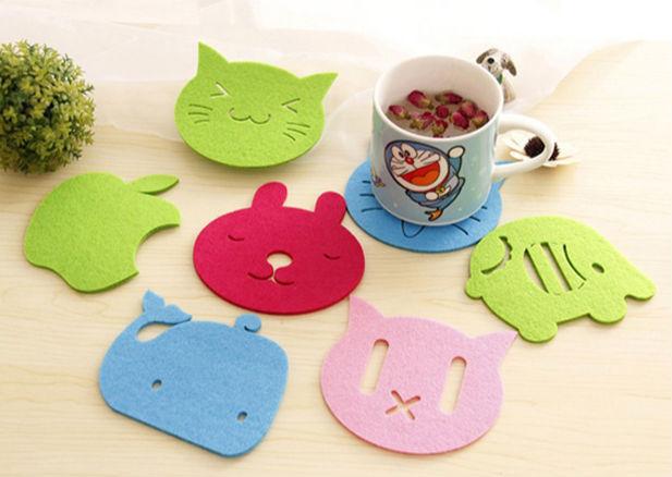 10 pcs/Lot Color Cup Mat Kitchen accessories Tea pad Placement table Cotton Felt Coaster Crochet Doilies Novelty households(China (Mainland))