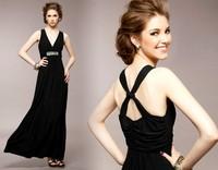 free shipping 90149 banquet deep V-neck breast x sparkling diamond formal dinner dress full dress formal dress