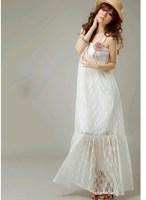 free shipping 9424 bohemia solid color crotch lace tube top spaghetti strap beach maxi dress