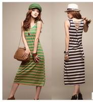 free shipping 866 summer holiday multicolour stripe racerback cross straps tank dress