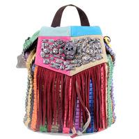 School Girl fashion backpack fringed leather shoulder bag backpack punk skull