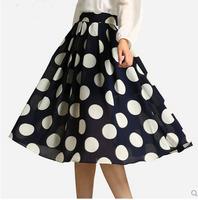 Free Shipping 2014 fashion polka dot expansion bottom chiffon beach skirt long chiffon skirt