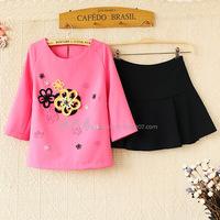 E8263-2014 spring and summer female stereo flower o-neck t-shirt bust skirt twinset 0317