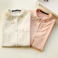 E6631-2014 women's sweet beading crochet turn-down collar long-sleeve all-match chiffon shirt 0113