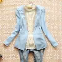 E7747-2014 female pearl decoration V-neck long-sleeve slim small suit jacket 0303