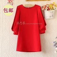 E7249-2014 women's brief o-neck organza patchwork half sleeve one-piece dress 0220
