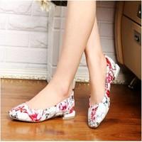 Fashion 2014 p patent leather single shoes female flat genuine leather flower women's square toe shoes single shoes