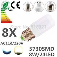 8X E27 E14 G9 GU10 B22 24leds SMD 5730 8W LED bulb lamp ,Warm white/white LED Corn Bulb Light,waterproof