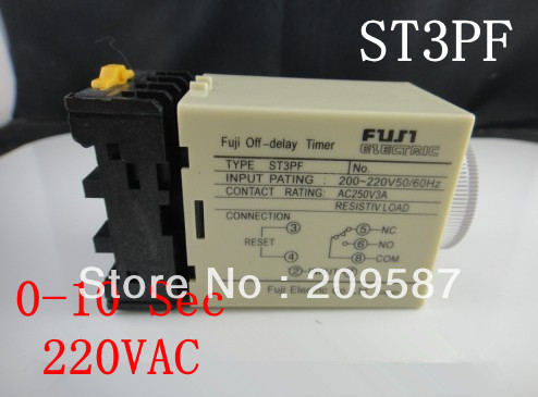 220VAC power off delay timer time relay 0-10 second ST3PF & Base(China (Mainland))