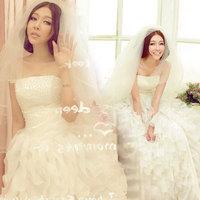 2014 princess tube top wedding dress bride puff skirt strap wedding dress