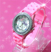Wholesale Fashion Brand Women Rhinestone Hello Kitty Silicone Jelly Sport Quartz Children Cartoon Watches Girl Dress Gift