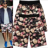 High Quality  Brand SUPREME Shorts Men's Beach Short Pants Flowers Print with Pocket Free Shipping