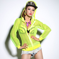 hip hop jazz dance t shirt Neon color top Outerwear Jazz dance For dance Lady gaga