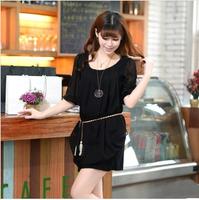 M-XXXL plus size half sleeve women tassel dress cheap  women dresses new fashion 2014 summer chiffon  dress
