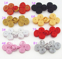 100pcs/lot China Tang Suit Accessories Handmade Bulk Flower Sewing Decorative Vintage Chinese Knot Buttons Fabric free shipping