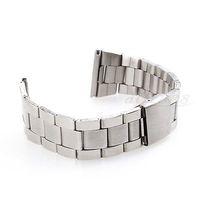 мужчины женщины 22 мм черные стальные часы группа ремешок браслет универсальный высокое качество