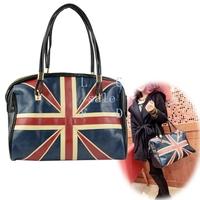 2pcs/lot New Ladies fashion UK flag shoulder bag messenger bag lether handbag free shipping 11583 F
