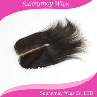 Good quality 100% Brazilian virgin hair top closure natural color straight in stock deep middle part lace closure
