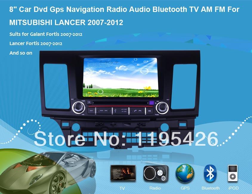 "8"" Car Dvd Gps Navigation Radio Audio Bluetooth TV Vehicle Navigation For MITSUBISHI LANCER Fortis iO EX Serie R(China (Mainland))"