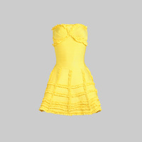 2014 New style yellow strapless sexy prom bandage dress in store