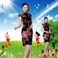 2014 plus size clothing trend of mooren national velvet short-sleeve flower banquet wedding cheongsam