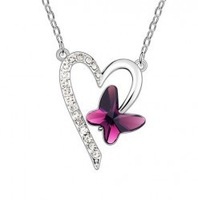 Wholesale white gold plated crystal fashion Butterfly necklace wedding jewelry for women  71C29