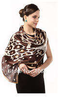 new 2014 Top Design fashion shawl wrap magic scarfs spring summer 100% mulberry silk scarves scarf 55*175cm printed Leopard