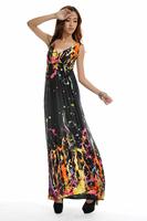 2015 New boho dress to party watercolor women dress bohemian Long Beach Dress sexy plus size print praia maxi dress 2xl-5xl