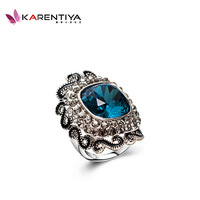 Free shipping Punk vintage silver ring blue crystal ring decoration luxury alloy