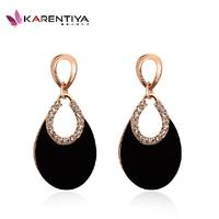 Fashion New 2014 Jewelry Water Drop oval shape drop earring crystal rhinestone vintage earrings black