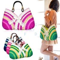 2014 summer straw bag Sweet lady Rainbow Handbags beach bag Wholesale handbag drop shipping 7137