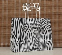 Big Size Zebra Shopping bag, 33X26X12CM,Janpan technical, Kraft paper bags with handle, Wholesale price (SS-198)