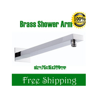 Free Shipping Wall Mount Rectangular Brass Shower Wall Arm 380mm With Flange Shower Head ExtensionTop Quality 5years guarantee