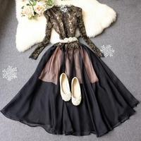 2014 spring fashion black vintage golden lace dress women's basic dress long sleeve black formal party banquet dress