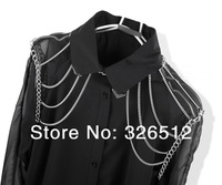 European Style Silver Plated Alloy Chains Tassels Necklace Shoulder Chains Body Chains 3pieces/lot