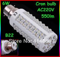 AC220-240V 6W led corn light B22 white or warm white led bulb  550lm replace 50W incandescent light wholesale Free ship