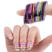 30Pcs/Lot Nail Art Tips Mixed Colors Decoration Sticker Rolls Striping Tape Line