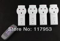 iot 20M United Kingdom Plug Four Way 4 Gang RF UK Wireless Remote Controller Socket Switch 230V Learning Style Wholesale