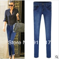 Summer 2014 Europe USA Brand Pants Women's Fashion Washing Solid Jeans Casual Slim Lightweight Skinny Pencil Pants