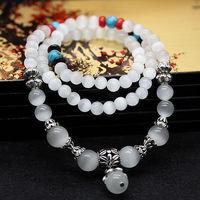 A225,Top quality,beautiful,fashion new white cat-eye stone bead women girl multi-layer bracelet ,lover jewelry,free shipping