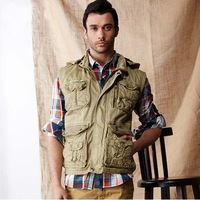 Free Shipping 2014 New High Quality Men Cotton Hooded Vest  and Outdoor Casual Multi-Pocket Waistcoat  Men Hot sale