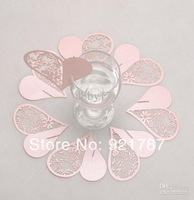 Wholesale - 100pcs/lot Laser cutting wedding decoration Escort card,heart wine glass place cards BKTX007