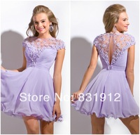 New 2014 Trends Elegant Beaded Sexy Sheer Scoop Neckline Short Prom Dresses Charming lavender Party Gowns vestidos de fiesta